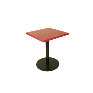 Red Table Top with Cast Iron Leg